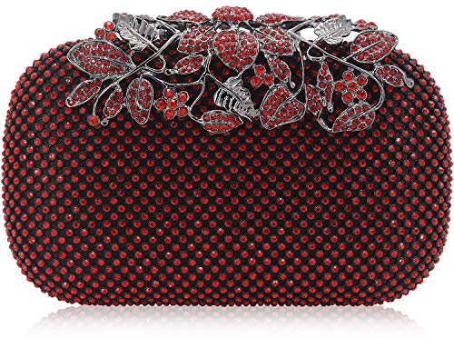 Dexmay Luxury Flower Women Clutch Purse Rhinestone Crystal Evening Bag for Wedding Party Red
