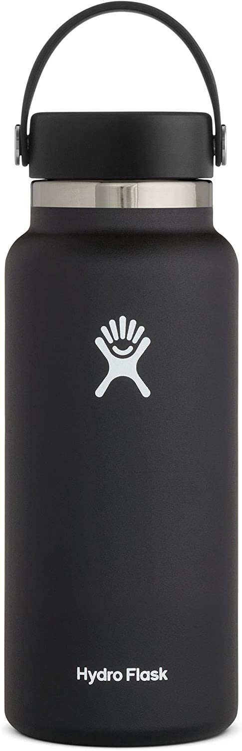 Hydro Flask Water Bottle - Stainless Steel & Vacuum Insulated - Wide Mouth 2.0 with Leak Proof Flex Cap - 32 oz, Black