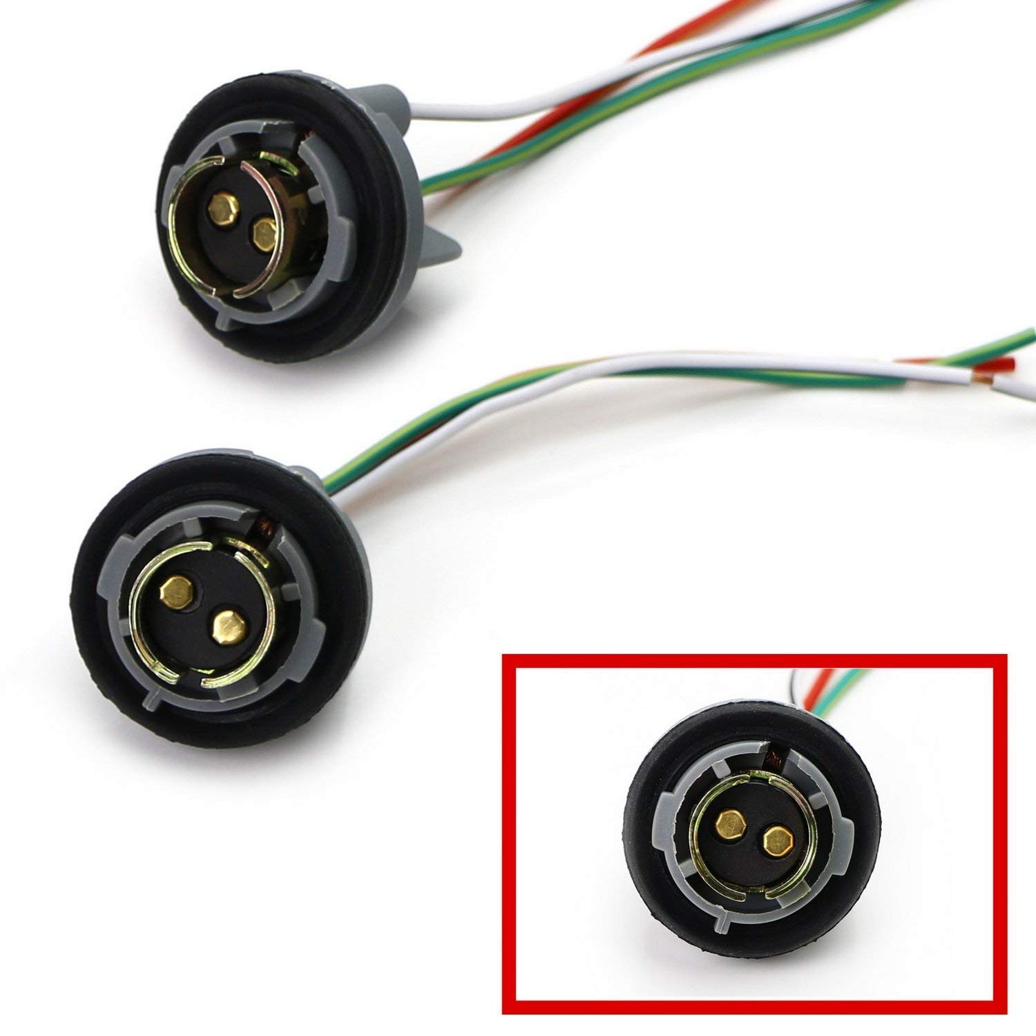Brake//Tail Lights or LED Bulbs Retrofit 1157 2057 2357 7528 Metal Socket//Base w//Pigtail Wiring Harness For Turn Signal etc 2 iJDMTOY