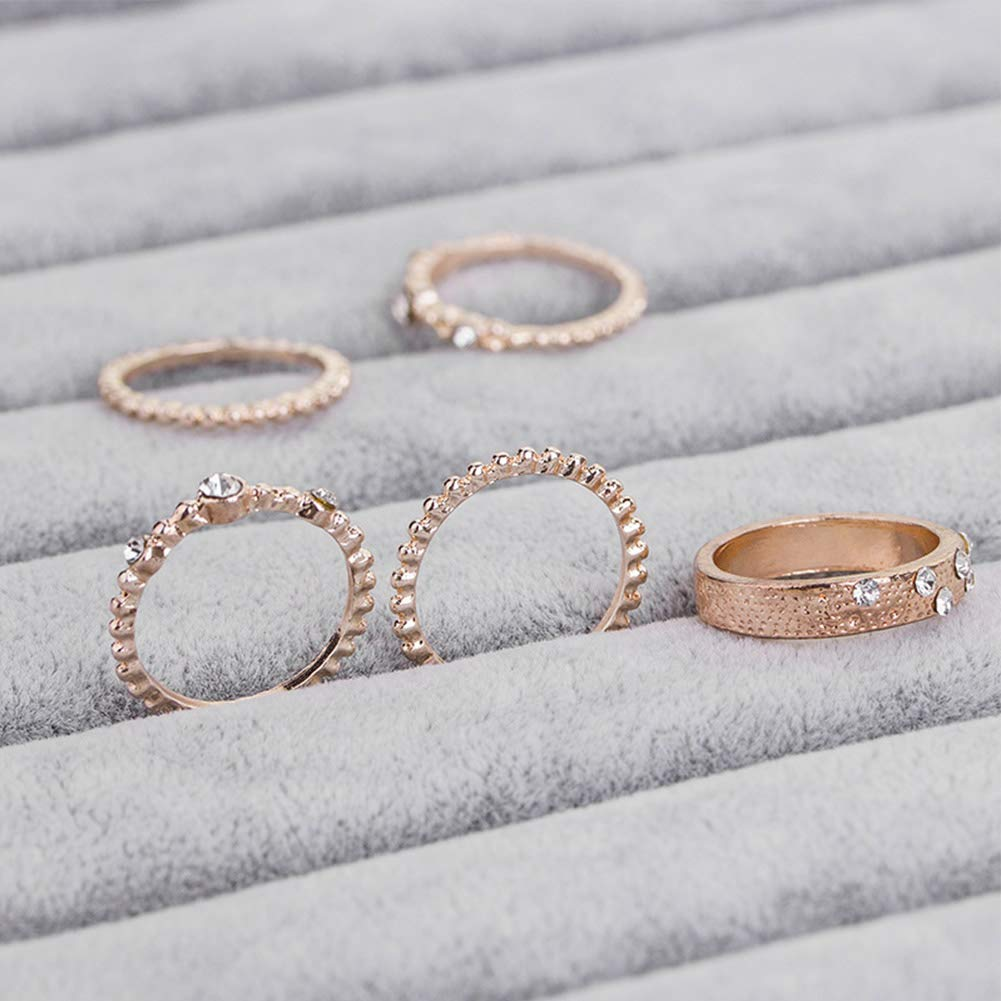 Bagues combinables Lnlyin en or rose pour femme fille 7 rose gold
