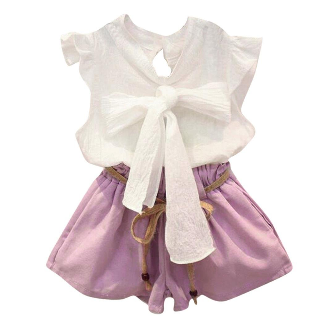 Lurryly 2018 2PCS Toddler Baby Girls Kids Clothes Bowknot Vest Sleeveless Shirt + Shorts Pants Set Outfit 2-7 Years (Size:6/7T,Height:130CM, White)
