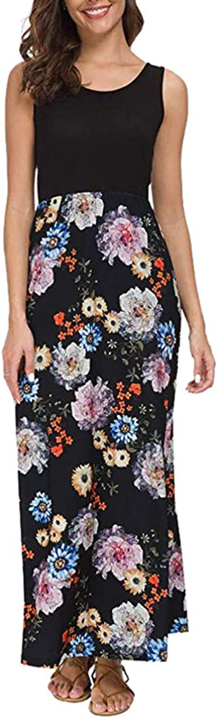 RTYou Maxi Dresses for Women Summer Sleeveless Floral Print Tank Long Maxi Dress
