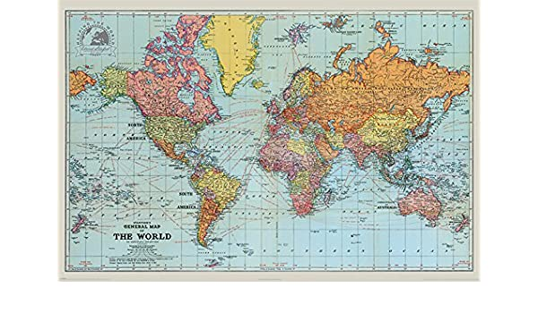 General World Map.Amazon Com Pyramid International Stanfords General Map Of The World