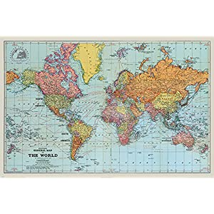 Pyramid International STANFORDS General Mapa del Mundo (Color) – Póster (61 x 91,5 cm, plástico/Vidrio, 61 x 91,5 x 1,3 cm
