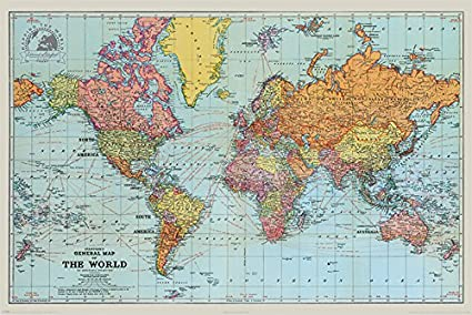 Pyramid International Stanfords General Map Of The World Colour