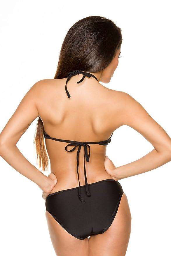 Schwarzer Neckholder Push Up Monokini mit Cut-Outs zum binden am Rücken  (S): Amazon.de: Bekleidung