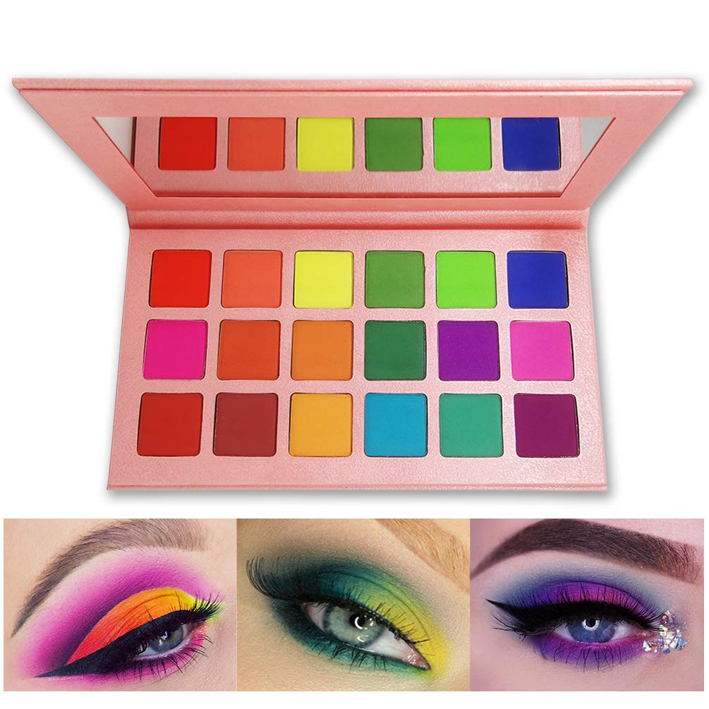 Matte Eyeshadow Palette, FindinBeauty 18 Bright Colors Highly Pigmented Makeup Eye Shadow - Professional Vegan Long lasting No Shimmer Silky Powder Rainbow Shades Cosmetics Set(Colorful) by FindinBeauty