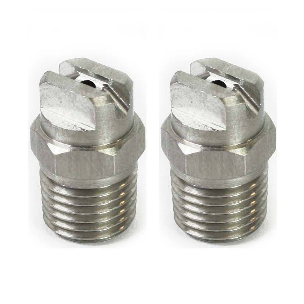 Interstate Pneumatics 1/4'' Male NPT Stainless Steel Surface Cleaner Nozzle, 25 Degree, 10 GPM - PW7106-2PK