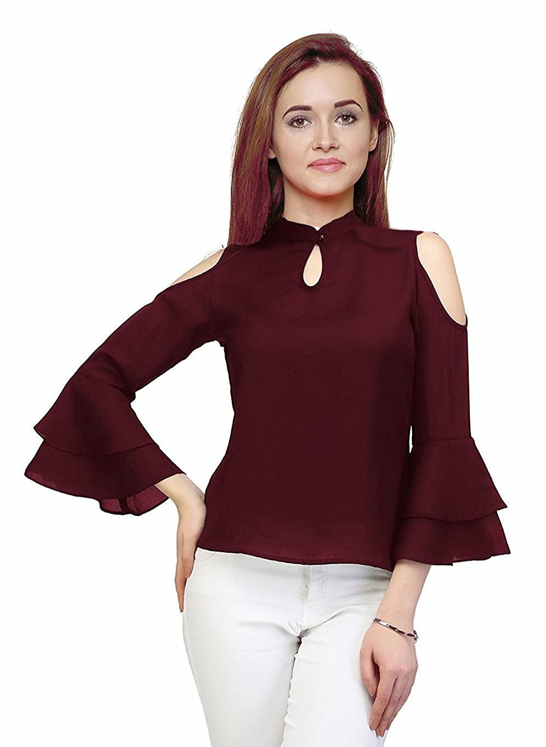 Indietoga women's maroon moss crepe cold shoulder bell sleeves western wear top (Plus size XS to 7XL)