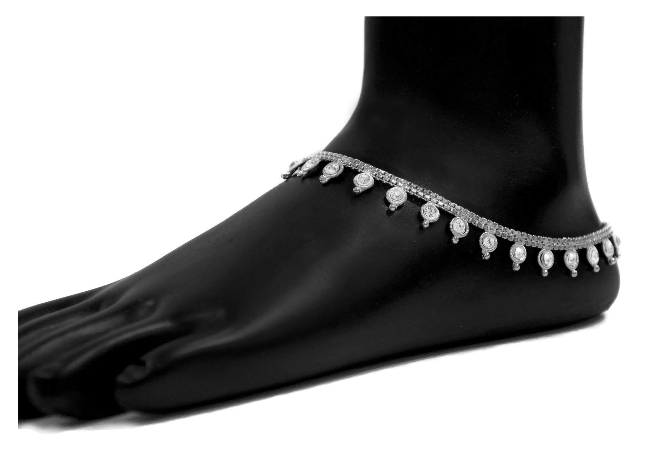 Bandura Pure Silver Plated Brass Alloy With Faux Diamonds Indian Anklet Pair For Women, 10''