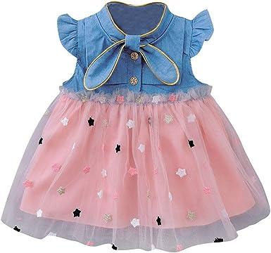 Toddler Infant Baby Girls Denim Tutu Tulle Princess Dresses Sundress Outfits 0-24 Months