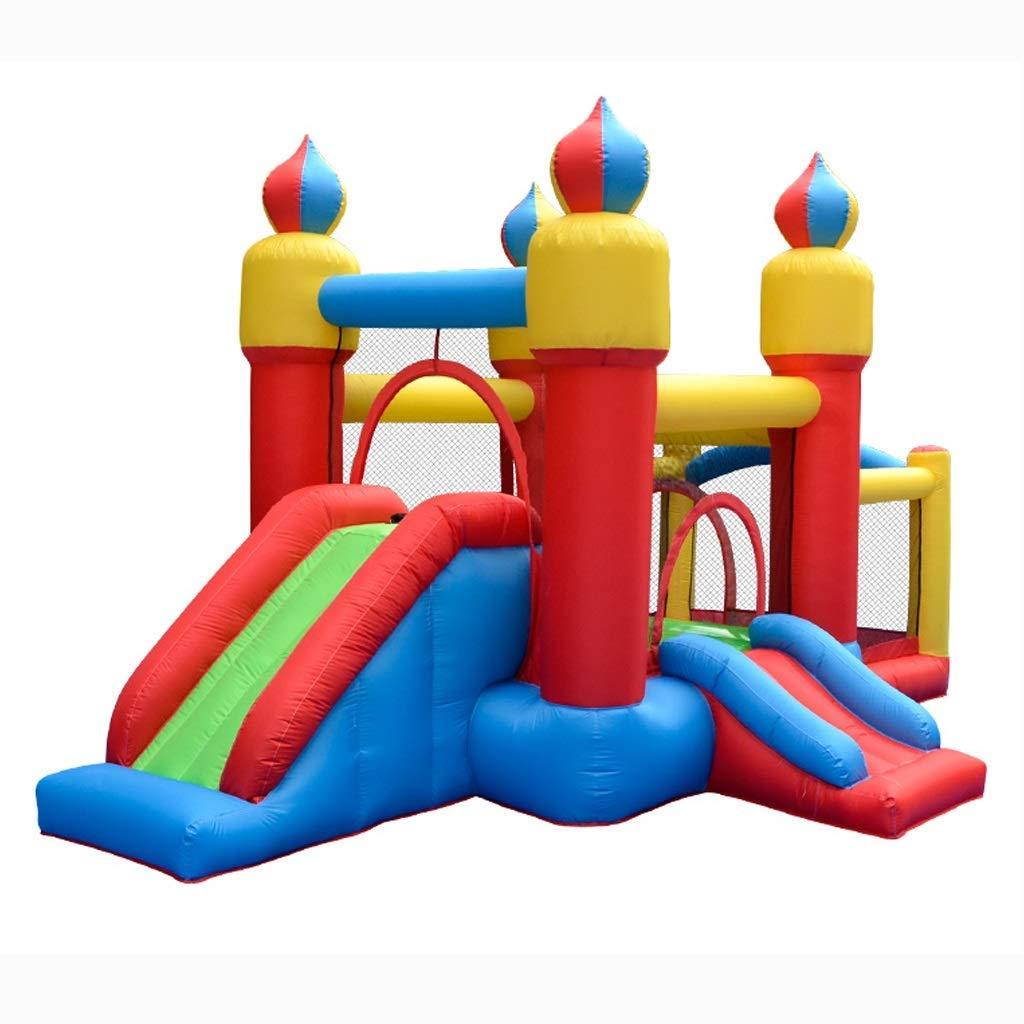 Daxiong Kindertrampolin Aufblasbares Trampolin Indoor- und Outdoor-Schlosskindergarten Rutsche Rutsche Freches Quadrat Quadrat Indoor-Spielzeug  435x270x225cm