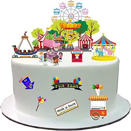 Awesome Fairground Fun Fair Stand Up Cake Scene Made From Edible Wafer Birthday Cards Printable Nowaargucafe Filternl