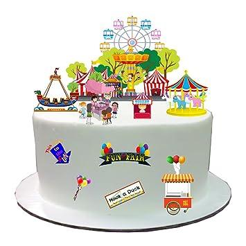 Décoration de gâteau en papier comestible sur le thème de la fête foraine,  utilisation facile