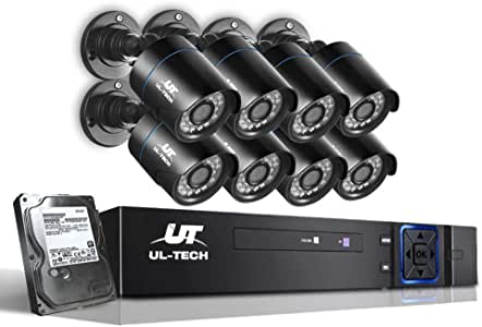 UL-TECH 8pcs Bullet Camera,1080p HD 8C Security IP Camera System with 20m Night Vision,Powerful 5-In-1 DVR,IP66 All-weather Design,Easy Remote View,Motion Detection,Email Alarm,IR-Cut and 1TB HDD Built-in for Outdoor or Indoor
