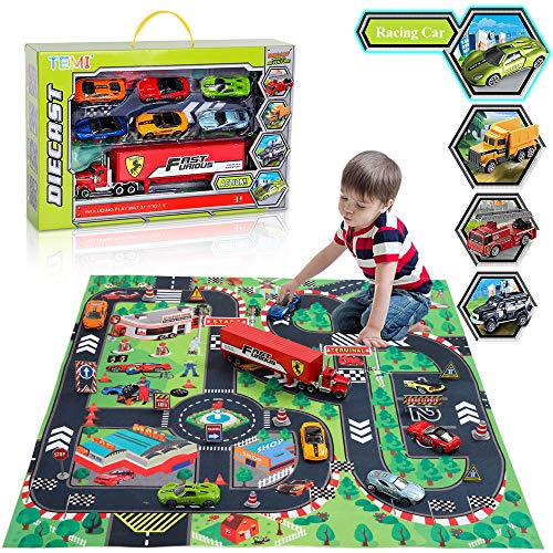 - TEMI Diecast Racing Cars Toy Set w/ Activity Play Mat, Truck Carrier, Alloy Metal Race Model Car & Assorted Vehicle Play Set for Kids, Boys & Girls