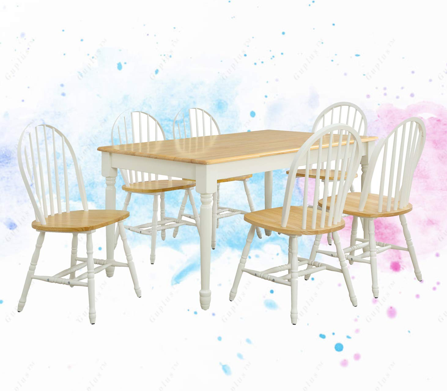 GUPLUS--Autumn Lane Farmhouse Dining Table, White and Natural.Sturdy Wood Construction Coordinates with Autumn Lane Collection Comfortably Seats 6