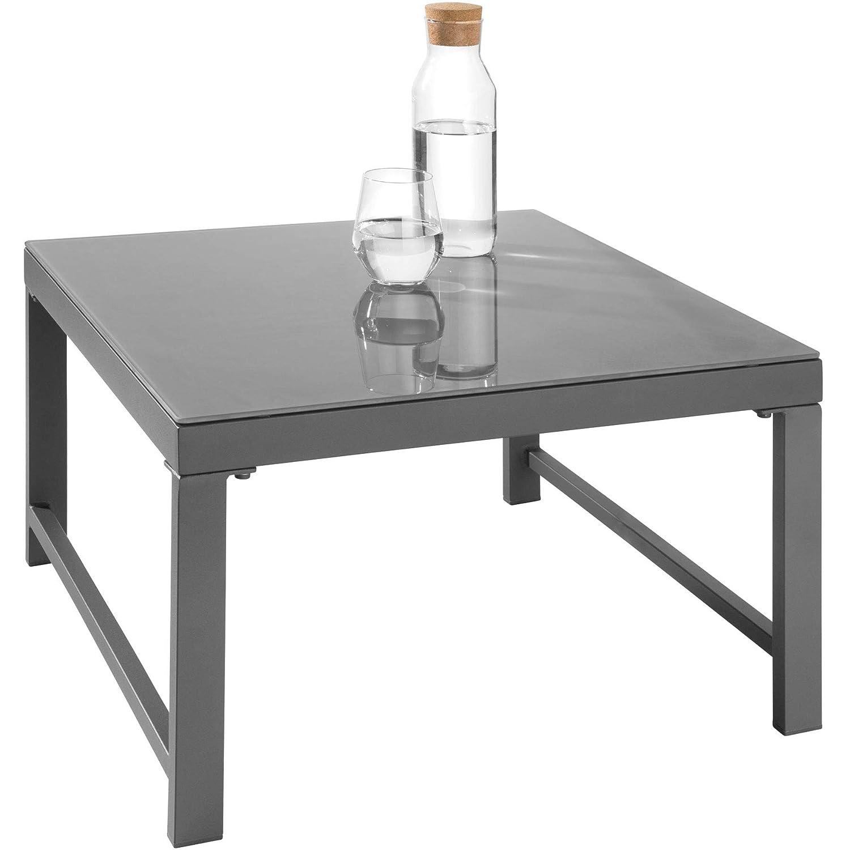 Tisch mit Sicherheitsglasplatte weiche Sitz- und R/ückenkissen grau inkl wetterfest 6-Fach verstellbare R/ückenlehne TecTake 403214 Aluminium Sitzgruppe f/ür Garten und Balkon