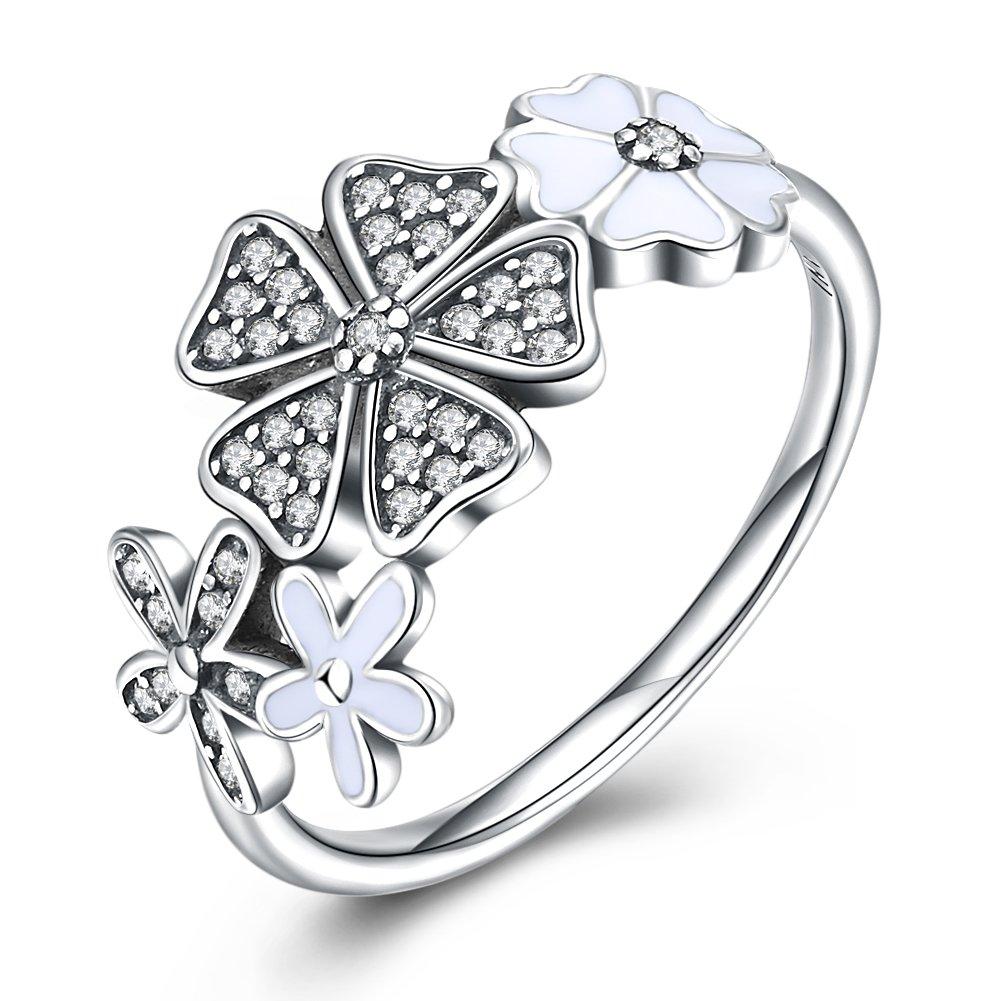 BeautySalon White Enamel Cherry Blossom Ring for Women
