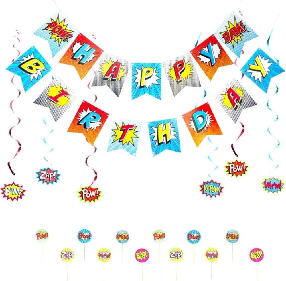 Longsing Decorazione a Tema Supereroe,Buon Compleanno Banner Cartello porta Supereroe per Decorazioni per Feste