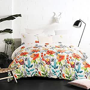 Vaulia Lightweight Microfiber Duvet Cover Set, Colorful Floral Print Pattern, White Multi-Color - Full/Queen Size