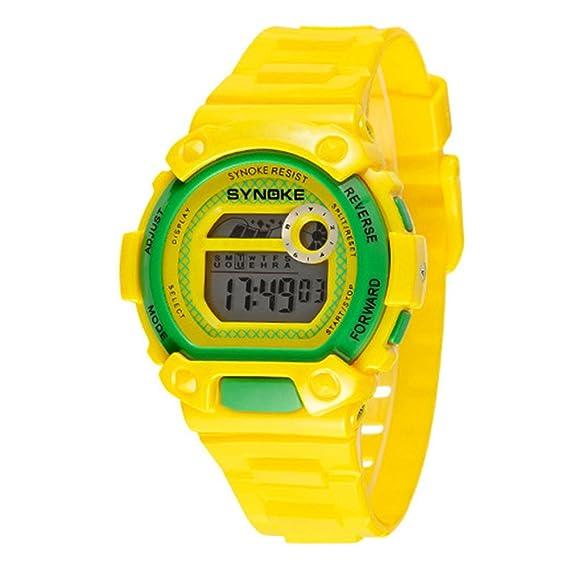 TTLIFE niños reloj Digital deportes al aire libre relojes LED Alarma Cronómetro Relojes de pulsera. Color Amarillo: Amazon.es: Relojes