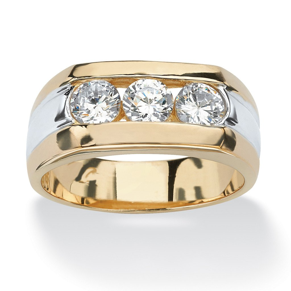 Silvernshine Jewels Men's 1.50 Ct Channel Set D/VVS1 Diamond 14k Two Tone Gold Over Three Stone Ring