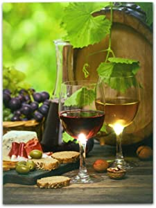 BANBERRY DESIGNS Wine Picture - Wine Decor Wall Art with LED Lights - Canvas Print - Wine Glasses and Wine Bottle Pictured with Grapes, Bread, Cheese, Nuts and Olives - 16x12 Inch