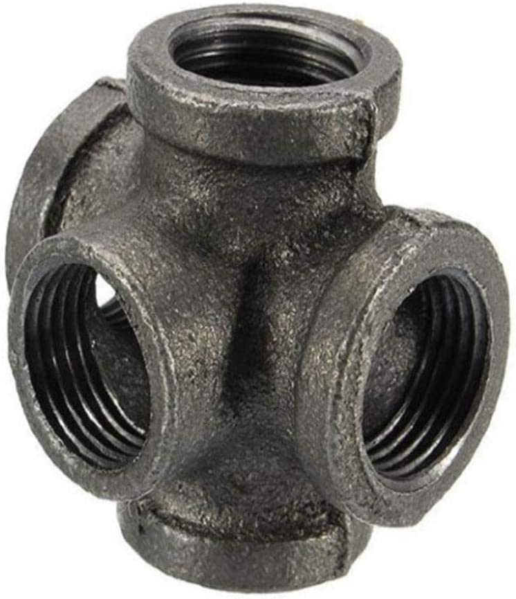 """Lucas shops 3/4"""" 5 Way Pipe Fitting Malleable Iron Black Outlet Cross Female Tube Connector (3/4 Inch)"""