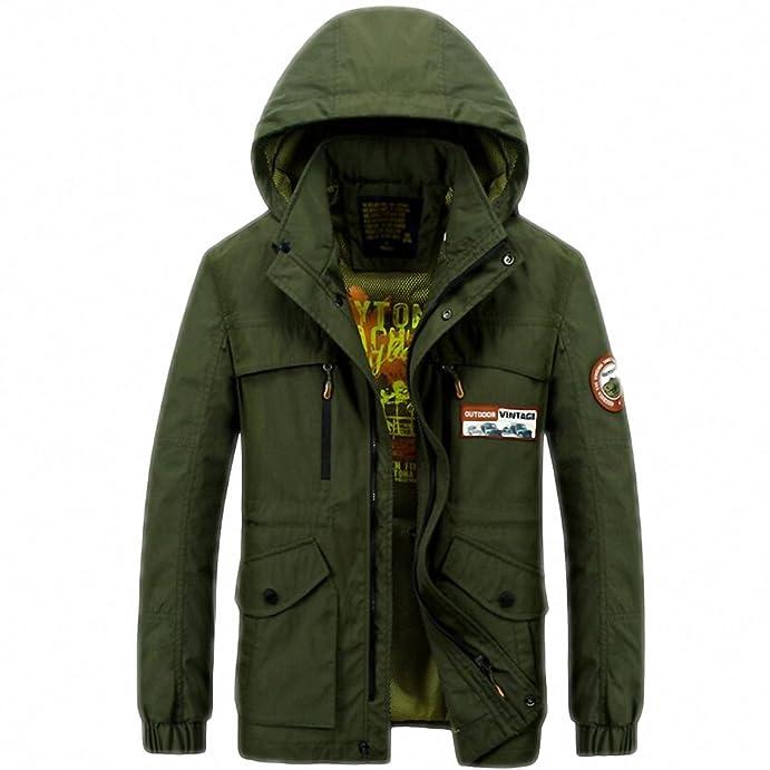 Clothing Mens Spring Autumn Jacket Men Casual Hooded Collar Multi-pockets Windbreaker Mens Jackets And Coats at Amazon Mens Clothing store: