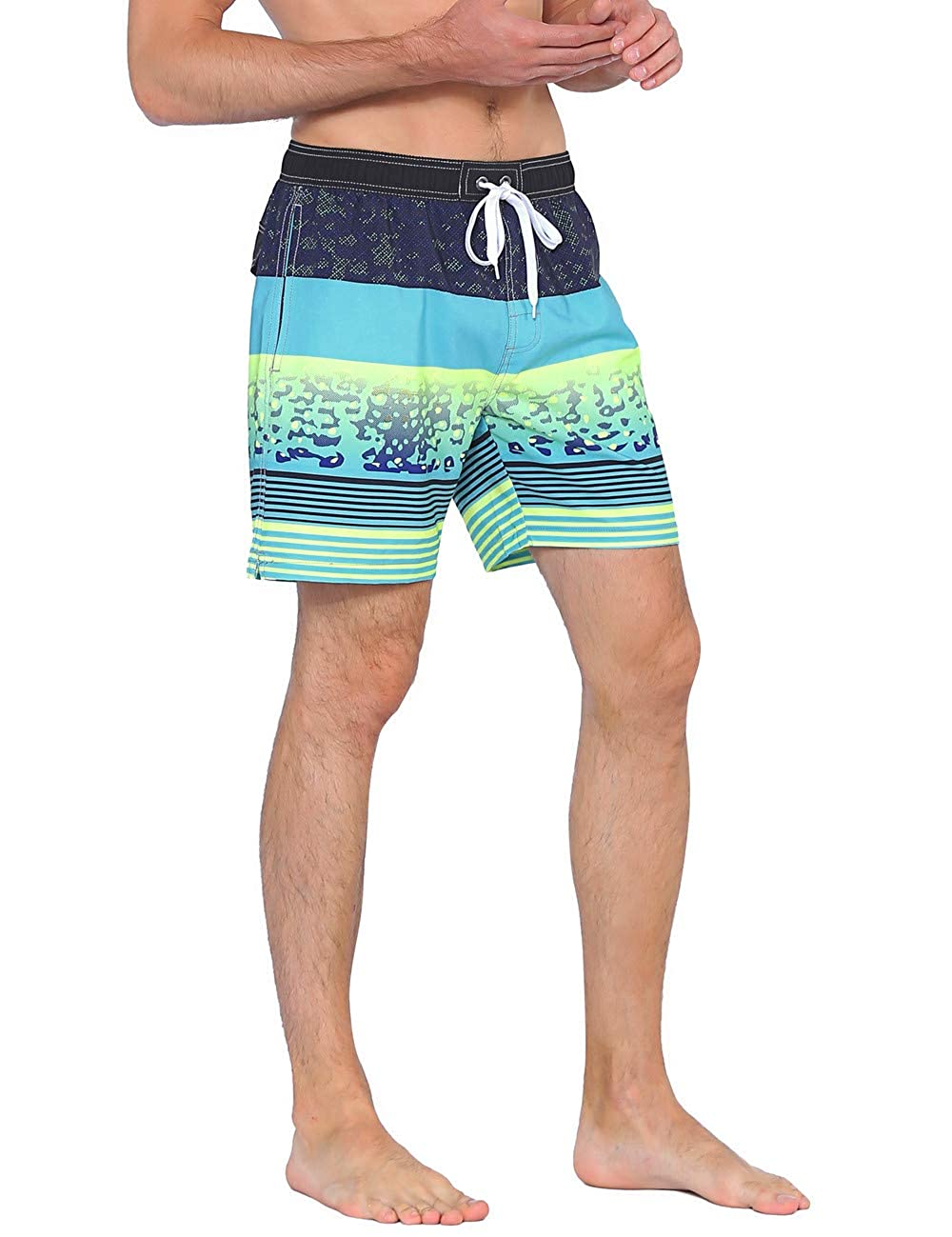 Unitop Mens Swim Trunks Classical Volley Board Shorts Colorful Pattern with Mesh Lining