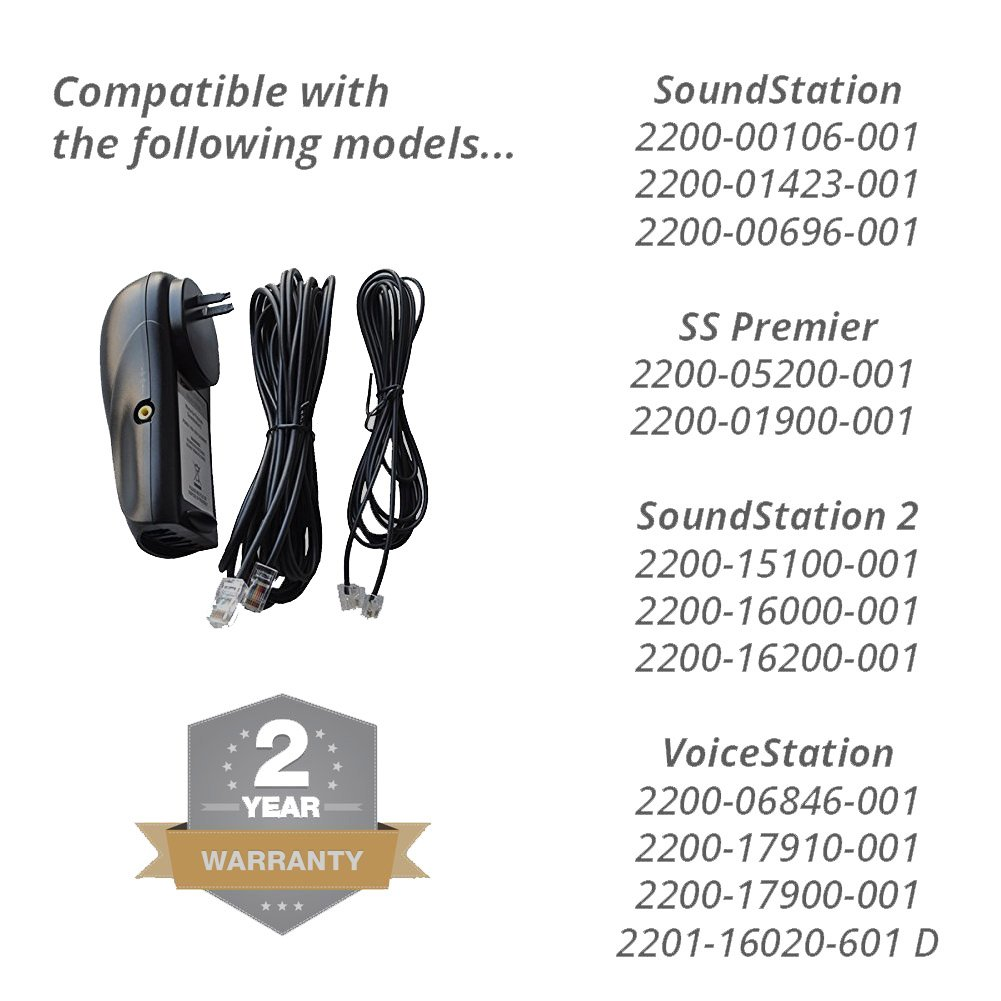 Power Supply for Polycom SoundStation 2 Conference Phone, Console Cable and Line Cord Included - Also Works with Voicestation Models