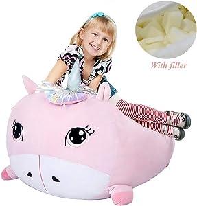 Chener Pink Unicorn Bean Bag Chair for Kids (with Filler), 28x22 Inch Soft Velvet Plush Unicorn Bean Bag Chair for Children Room Decor for Baby Girls