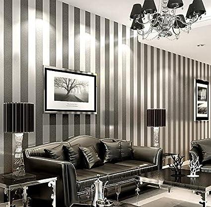 LXPAGTZ Carta da parati in tessuto non tessuto moderno semplice camera da  letto salotto bianco e nero strisce verticali blu Mediterraneo orientale ...