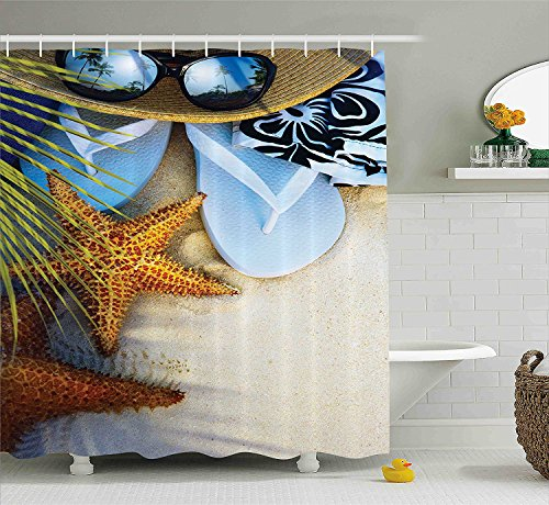 Mirryderr Beach Shower Curtain Hawaiian Decor, Dream on the Beach Seashell Starfish Sea Star Sunglasses Flip Flop Slippers and a Hat with Exotic Palm Trees Bath Fabric Set, Green Blue (Palm Tree Slipper)