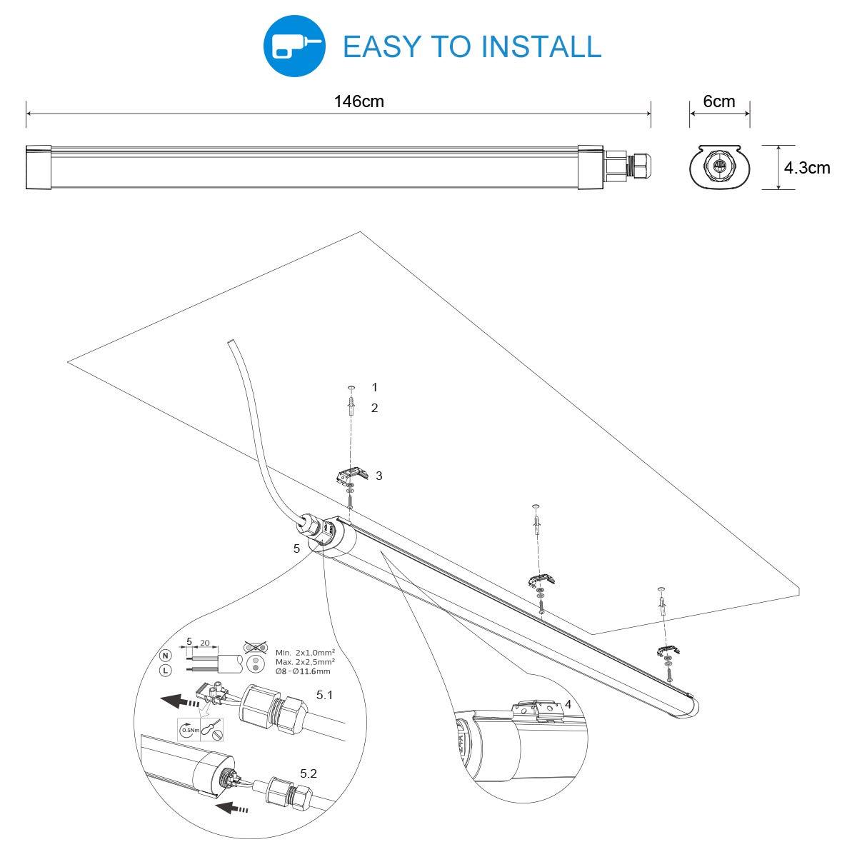 100Lm//W Impermeable IP65 Lampara de Techo LED Plafon para garaje s/ótano ba/ño taller cocina bodega tienda blanco neutro 4000K 51W 5100Lm Tubo fluorescente Oeegoo Tubo LED 150cm