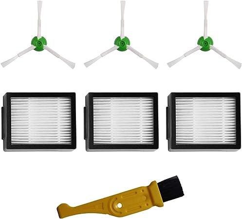Image of MIRTUX Kit de Accesorios de Repuesto para Roomba E5 / i7. Pack de recambios de cepillos Laterales y filtros HEPA Compatible Roomba E5 E6 i7 i7+. Reemplazo de 3 cepillos y 3 filtros + Limpiador.