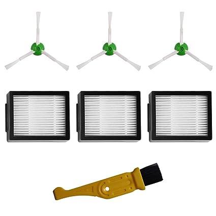 MIRTUX Kit de Accesorios de Repuesto para Roomba E5 / i7. Pack de recambios de cepillos Laterales y filtros HEPA Compatible Roomba E5 E6 i7 i7+. ...