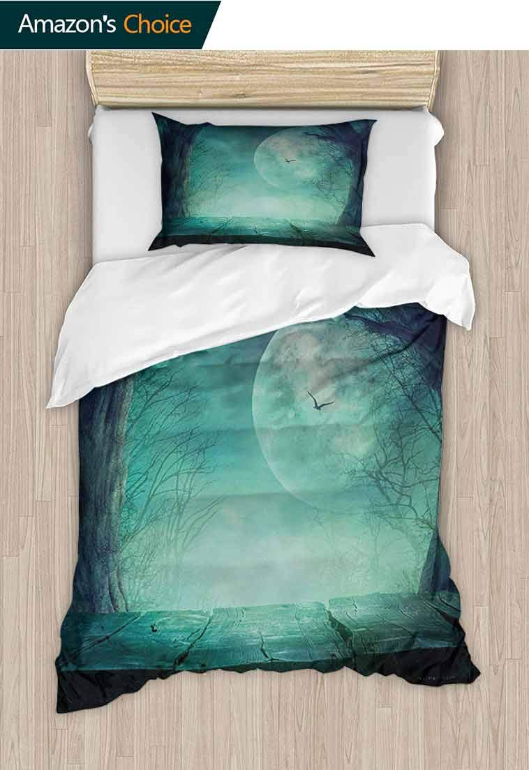 Halloween Printed Duvet Cover and Pillowcase Set, Spooky Teal Forest Moon and Vain Branches Mystical Haunted Horror Rustic Imagery Print, Duvet Cover with Pillowcases Child Bedding Sets 2 Piece Teal