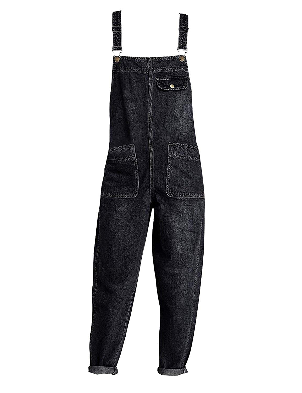 3fe25c17cc Mid rise bib front overall dark denim blue and classic black. Two front  pockets