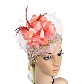 e6ddf55c Amazon.com : MOWANG Charming Big Flower Headband Netting Mesh Hair Band  Cocktail Party Fascinator (Pink) : Beauty