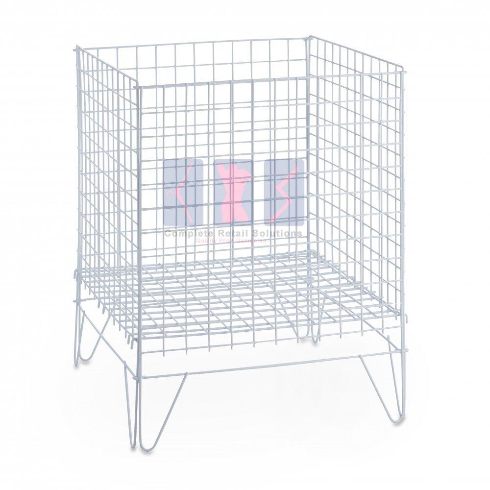 New White Square,Round Dump Bin Wire Basket Shop Display Shopfittings /& Retail