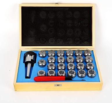 23 tlg Spannzangen Set 4-26 mm ER40 inkl Futter MK3 Schlussel und Holz