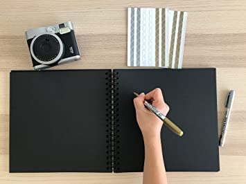 Amazon Black Guest Book Photo Booth Album Scrapbook Blank Square Spiral Bound Cardboard Hardcover 40 Sheets 12 Inches
