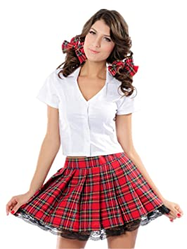 Temptress School Girl Costume Sexy Women Plaid Skirt: Amazon.ca ...