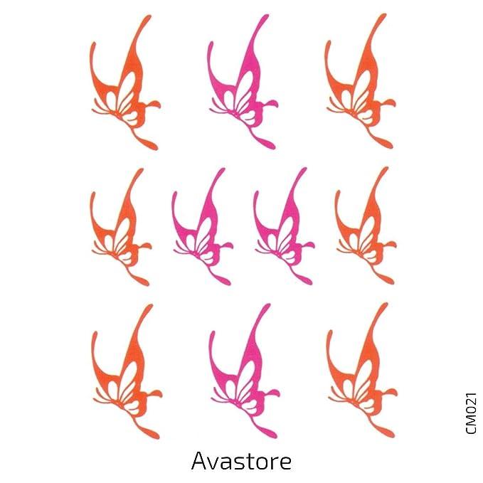 Avastore – Lote de 2 tatuajes temporales para mujer con mariposa ...