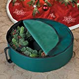 Durable Protective Green Single 24'' Christmas Wreath Storage Bag Case Bin