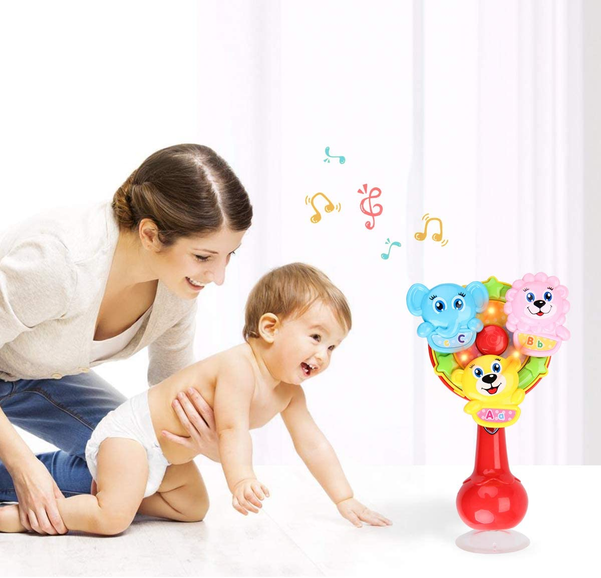 Music for Ages 6 Months and Up Toddlers for Early Learning. FS Spin Wheel Baby Rattle Toy Spinning Activity High Chair Toy with Light