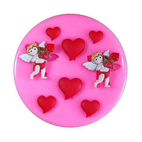 Cupid del día de tarjeta del día de San Valentín y corazones Molde de silicona para