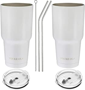 Stainless Steel Tumbler 30oz - Vacuum Insulated Tumbler Coffee Cup Double Wall Large Travel Mug with Lid, Straw, Brush, Gift Box Set (White, 30oz-2 Pack)
